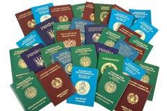 De achtergrond van paspoorten Stock Fotografie