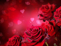 De achtergrond van rozen en van Harten Stock Afbeelding