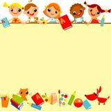 De achtergrond van schoolkinderen Stock Afbeelding