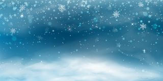 De achtergrond van de sneeuw Het landschap van de winterkerstmis met koude hemel, blizzard vector illustratie