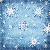 De achtergrond van sneeuwvlokken Stock Foto