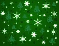 De achtergrond van sneeuwvlokken en van bomen. Stock Foto