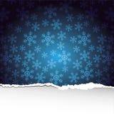 De achtergrond van sneeuwvlokken met gescheurd document Stock Afbeelding