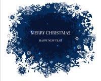 De achtergrond van sneeuwvlokken Vector Vrolijke Kerstmis en Gelukkig de kaartontwerp van de Nieuwjaargroet vector illustratie