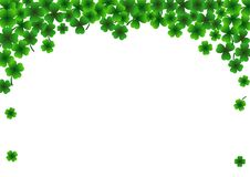 De achtergrond van de StPatrick` s dag, 17 Maart Lucky Day, groene bladeren Stock Foto