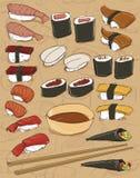 De achtergrond van sushi Stock Fotografie