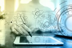 De achtergrond van de technologieinterface met toestellenontwerp Techniek, Bedrijfs, Ontwikkelings en communicatie concept royalty-vrije stock foto