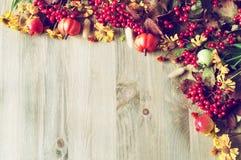 De achtergrond van de thanksgiving dayherfst met de seizoengebonden bessen, de pompoenen, de appelen en de bloemen van de de herf Royalty-vrije Stock Foto