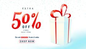 De achtergrond van de tweede kerstdagverkoop Giftdoos op lichte achtergrond Stock Afbeeldingen
