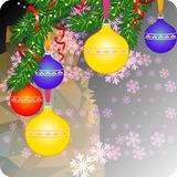 De achtergrond van de vakantie met de Ornamenten van Kerstmis De ruimte van het exemplaar vector illustratie