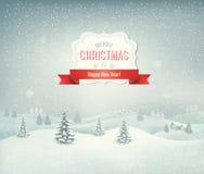 De achtergrond van vakantiekerstmis met de winterlandschap Royalty-vrije Stock Afbeelding