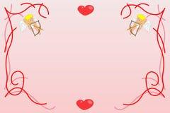 De achtergrond van valentijnskaarten met engelen Stock Foto