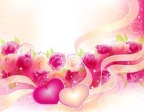 De achtergrond van valentijnskaarten met rozen en harten Royalty-vrije Stock Afbeeldingen