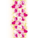 De achtergrond van valentijnskaarten met rozen en harten Royalty-vrije Stock Afbeelding