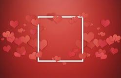 De achtergrond van valentijnskaarten Wit kader met rode harten op rode achtergrond, centrum lege ruimte voor exemplaarruimte Stock Afbeelding