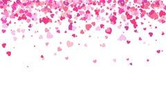 De achtergrond van de valentijnskaartendag De bloemblaadjes van confettienharten het vallen Hart royalty-vrije illustratie