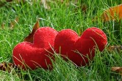 De achtergrond van de valentijnskaartendag Hart twee in bladeren Concept liefde Royalty-vrije Stock Foto's