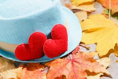 De achtergrond van de valentijnskaartendag Hart twee in bladeren Concept liefde Royalty-vrije Stock Fotografie