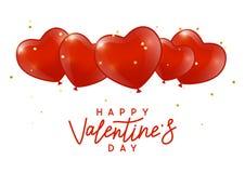 De achtergrond van de valentijnskaartendag met hartenballons royalty-vrije stock fotografie