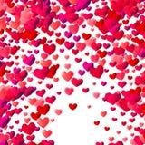 De achtergrond van de valentijnskaartendag met verspreide driehoeksharten vector illustratie