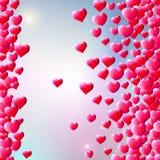 De achtergrond van de valentijnskaartendag met verspreide gemharten vector illustratie