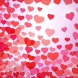 De achtergrond van de valentijnskaartendag met verspreide vage tedere harten royalty-vrije illustratie
