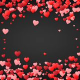 De achtergrond van de valentijnskaartendag Ontwerpillustratie voor huwelijksuitnodiging, Valentijnskaartendag Hartenconfettien, r Stock Foto's