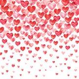 De achtergrond van de valentijnskaartendag De rode Achtergrond van waterverfharten met dalende harten vector illustratie