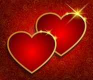 De achtergrond van Valentine met twee rode harten. royalty-vrije illustratie