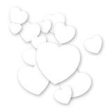 De achtergrond van Valentine´s - witte harten Stock Fotografie