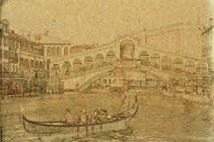 De achtergrond van Venetië met Rialto-Brug Stock Fotografie