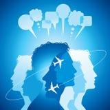 De achtergrond van vliegende vliegtuigen met deelt mensen mee Royalty-vrije Stock Foto's
