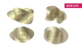 De achtergrond van vormen Vloeibare organische gouden vormen Abstracte vormenvorm Voorraadvector stock illustratie