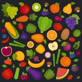 De Achtergrond van vruchten en van Groenten Organisch en Gezond voedsel vlak vector illustratie