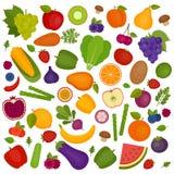 De Achtergrond van vruchten en van Groenten Organisch en Gezond voedsel vlak stock illustratie