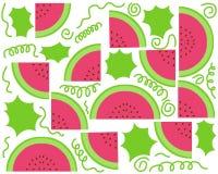 De Achtergrond van de watermeloen Vectorwatermeloenpatroon Royalty-vrije Stock Afbeeldingen