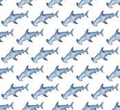 De achtergrond van de waterverf hammerhead haai Hand geschilderd waterverfpatroon met gestileerde blauwe hammerhead stock illustratie