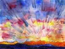 De achtergrond van de waterverf Hoge bewolkte hemel over de bergen stock afbeelding