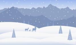 De achtergrond van de winter Het de winterlandschap met bergen, heuvels, sneeuw drijft, pijnboombomen en herten af vector illustratie
