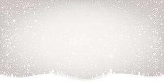 De achtergrond van de winterkerstmis met landschap, sneeuwvlokken, licht, sterren Kerstmis en nieuwe jaarkaart stock illustratie