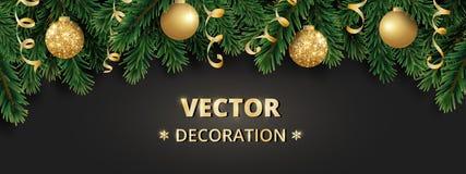 De achtergrond van de de wintervakantie Grens met de takken van de Kerstboom Slinger, kader met het hangen van snuisterijen, wimp Stock Foto
