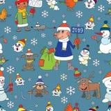 De achtergrond van de de wintervakantie Kerstmis, nieuwe jaarpictogrammen naadloos royalty-vrije illustratie