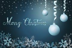 De achtergrond van de de wintervakantie met sneeuw en Kerstmisballen, hand het van letters voorzien uitdrukkings vrolijke Kerstmi vector illustratie