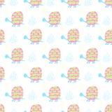 De achtergrond van zachte kinderen met schildpadden en algen in de modieuze pastelkleur zachte kleuren vector illustratie