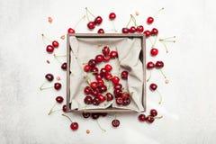 De achtergrond van de zoete kersenlandbouw, helder mooi heerlijk dessert stock afbeelding