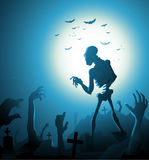 De achtergrond van zombiehalloween met maan vectorillustratie Stock Fotografie