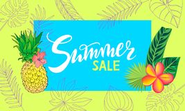 De achtergrond van de de zomertijd met tekst - illustratie Vectorillustratie van een gloeiende achtergrond van de de Zomertijd stock illustratie