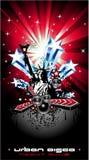 De achtergrond voor de Vliegers van de Disco met de V.S. markeert beweging veroorzakend Royalty-vrije Stock Fotografie