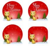 De Achtergronden van de Kat van Kerstmis Stock Afbeelding