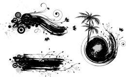 De achtergronden van Grunge met bloemenelementen stock illustratie